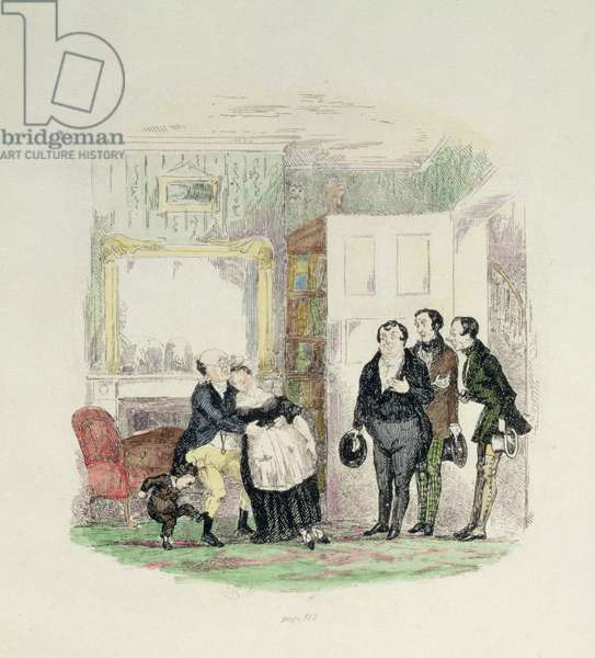 Mr Pickwick is found by his friends with Mrs Bardell in his arms, illustration from 'Pickwick Papers' by Charles Dickens (1812-70) 1837 (colour engraving)