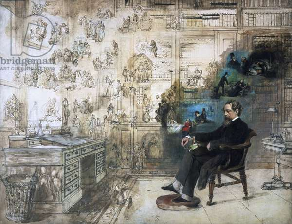 A posthumous portrait of Dickens and his characters; Dickens's Dream, 1875 (oil on canvas)