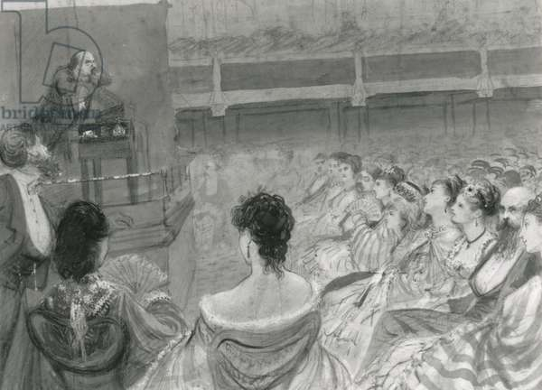 Charles Dickens giving a reading at St. James's Hall, 1870 (chalk & charcoal on paper)