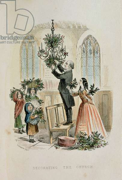Decorating the Church, from 'The Anniversary: A Christmas Story' after Dickens' Christmas Books (coloured engraving)