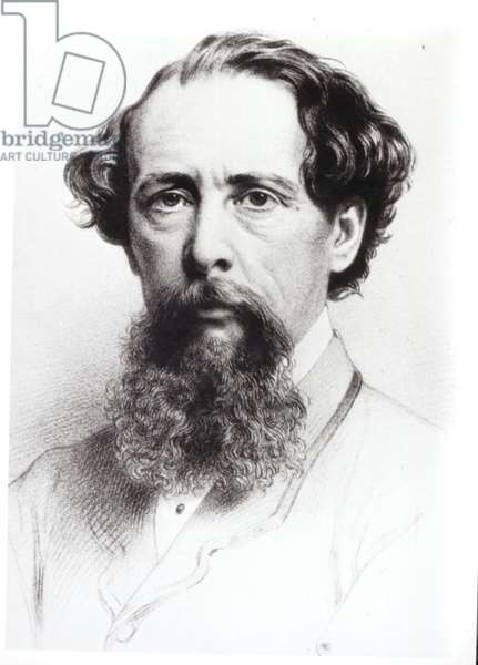 Portrait of Charles Dickens (1812-70), 1861 (pencil on paper) (b/w photo)
