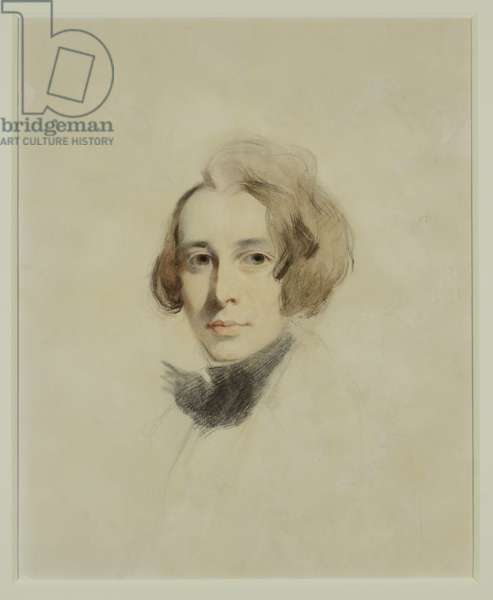 Preliminary sketch of Charles Dickens, 1837 (chalk and pastels)