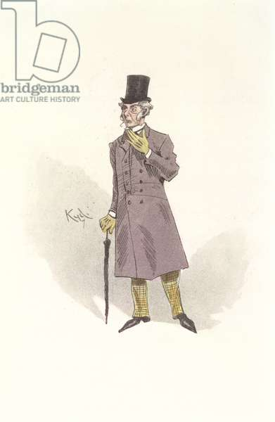 Mr Podsnap, a character from 'Our Mutual Friend' by Charles Dickens (1812-70) (colour litho)