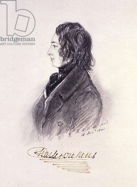 Portrait of Charles Dickens (1812-70) 16th December 1841 (pencil on paper)