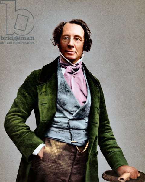 Daguerreotype of Charles Dickens, original image late 19th century, colourised by Oliver Clyde, 2020 (collodion print)