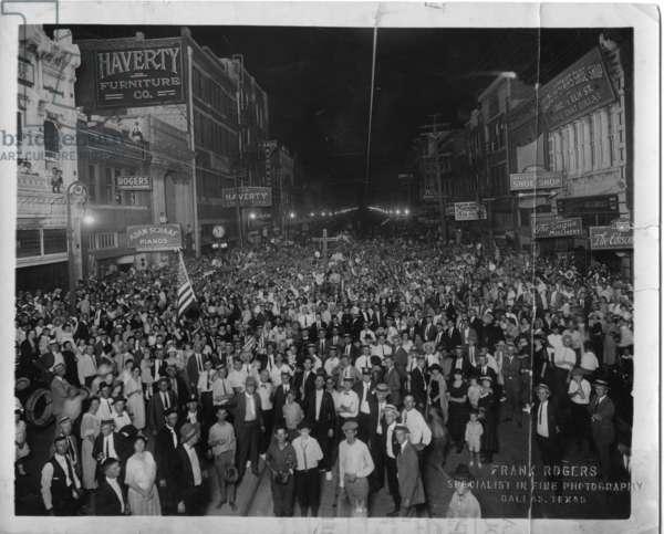 Klan Rally on Elm Street, Dallas, Texas, 1920s (b/w photo)