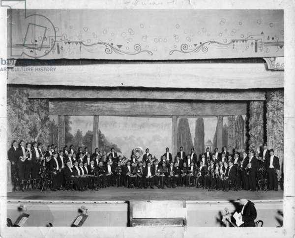 Klan band on stage, 1920s (b/w photo)