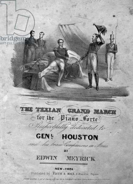 'The Texian Grand March', 1836 (engraving) (b/w photo)