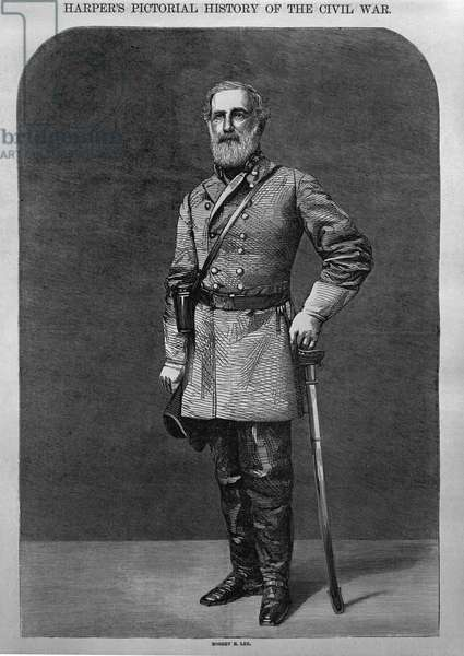 Robert E. Lee, from 'Harper's Pictorial History of the Civil War' 1862 (engraving) (b/w photo)
