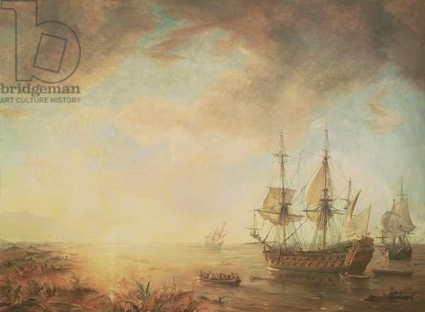 Expedition of Robert Cavelier de La Salle (1643-87) in Louisiana in 1684, 1844 (oil on canvas) (see 173137)