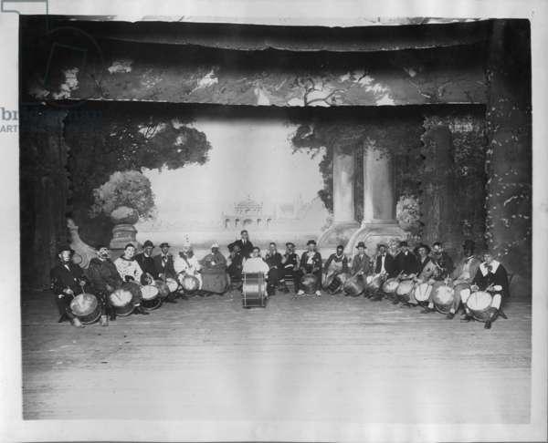 Klan drum and bugle corps, 1920s (b/w photo)