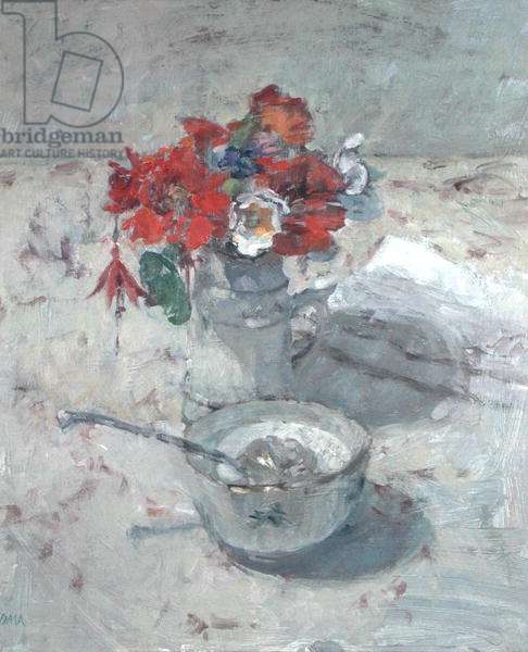 The Five Franc Pot Holds the Late Summer Flowers (oil on canvas)