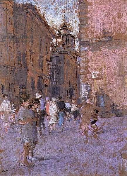 Tourists in Orvieto, 1992 (pastel)