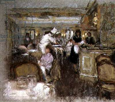 Lunch at Fortnum's, 1986 (pastel on paper)
