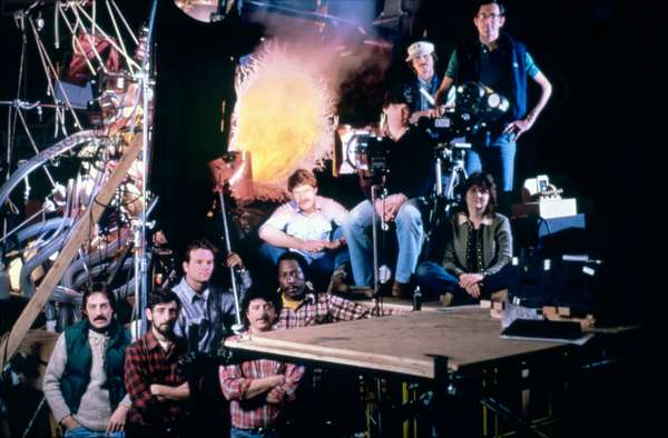 On The Set, Tobe Hooper (Black Shirt) Sat In The Middle Of His Crew.