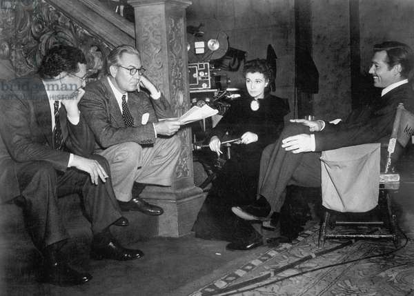 On The Set With The Producer David O. Selznick, Victor Fleming (Director), Vivien Leigh And Clark Gable.