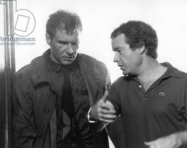 On The Set, Harrison Ford And Ridley Scott (Director)., Blade Runner 1981 Directed By Ridley Scott