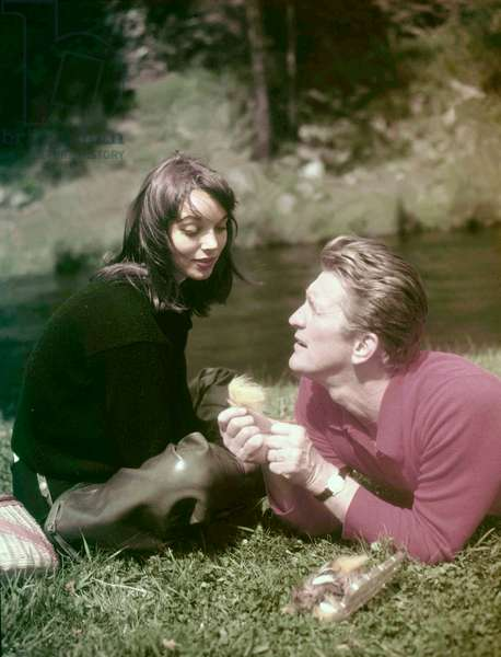 On The Set, Elsa Martinelli And Kirk Douglas.