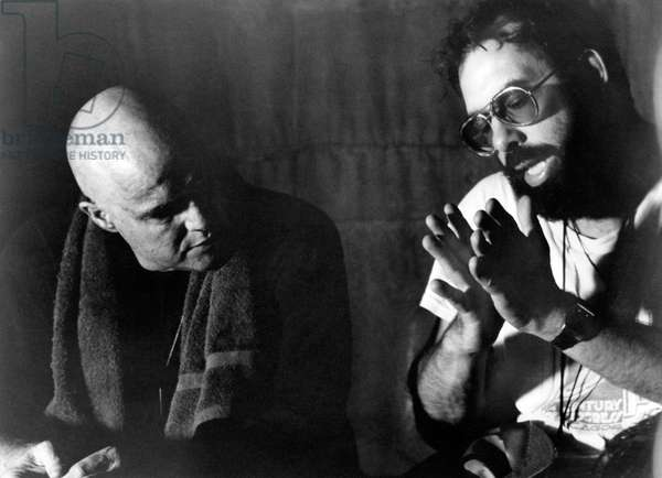 On The Set, Francis Ford Coppola Directs Marlon Brando., Apocalypse Now 1979 Directed By Francis Ford Coppola
