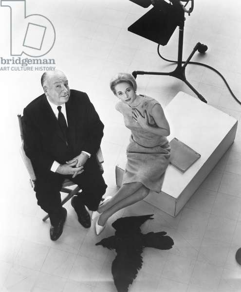 On The Set, Alfred Hitchcock With Tippi Hedren., The Birds 1963 Directed By Alfred Hitchcock
