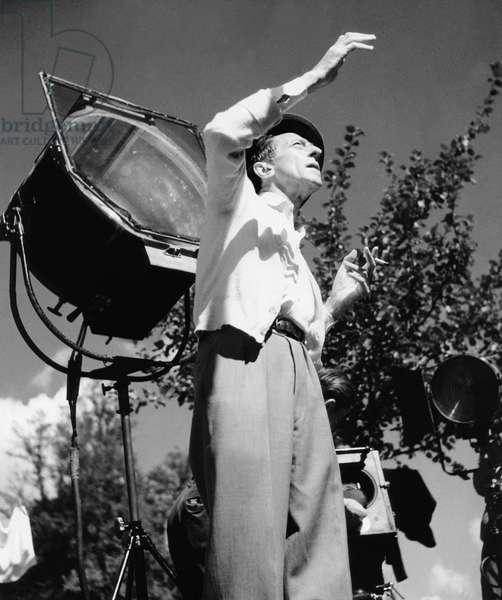 Jean Cocteau on the set of 'La Belle et La Bete', 1946 (b/w photo)