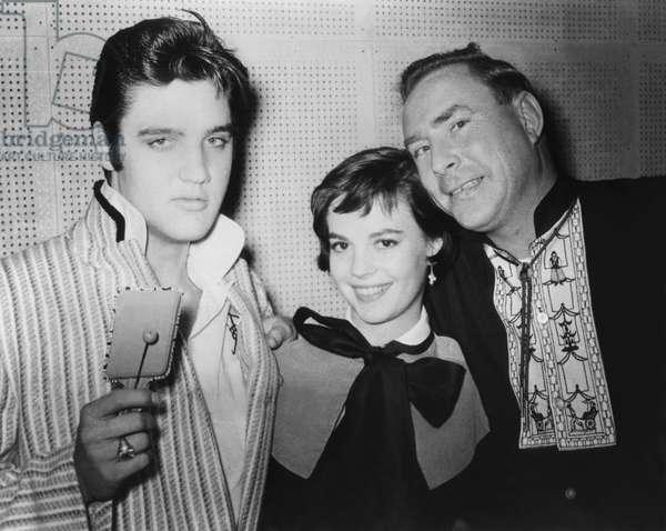 Elvis Presley (1935 - 1977), Natalie Wood and Nick Adams (b/w photo)