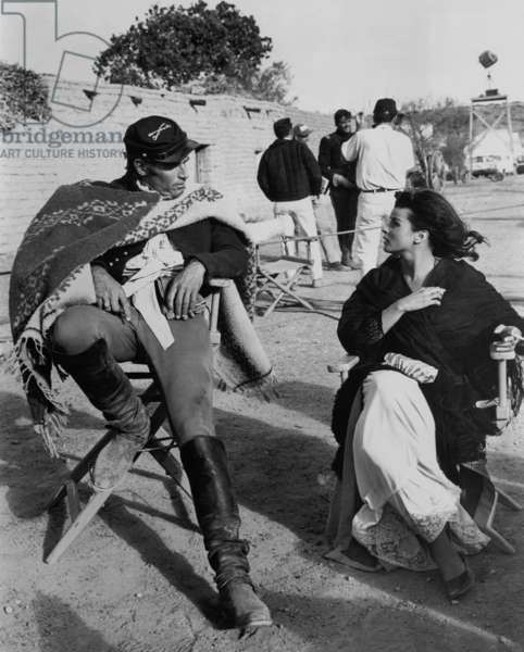 On The Set, Charlton Heston And Senta Berger.
