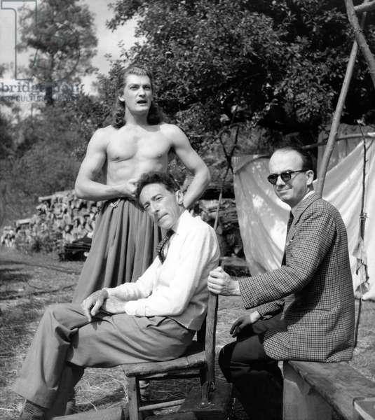 Jean Marais and Jean Cocteau on the set of 'La Belle et la Bete', 1946