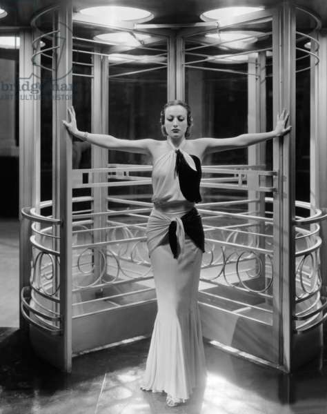 American Actress Joan Crawford As She Appeared In The Title Role Of Clarence Brown'S 'Letty Lynton', Wearing An Outfit By Adrian, 1932 (b/w photo)