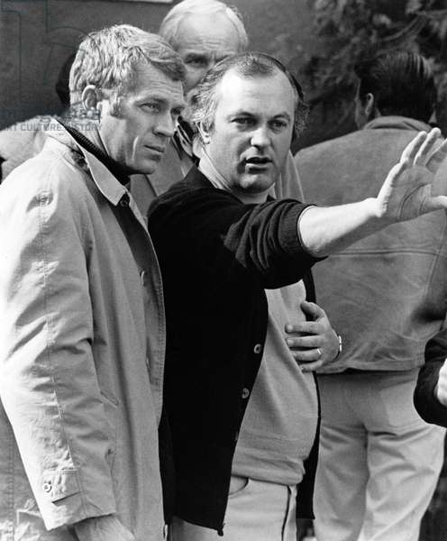 On The Set, Peter Yates (Director) And Steve Mcqueen., Bullitt 1968 Directed By Peter Yates