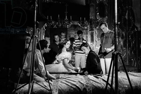 On The Set, Luchino Visconti With Claudia Cardinale And Alain Delon.