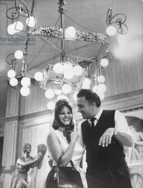 On The Set, Claudia Cardinale And Federico Fellini (Director)
