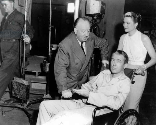 On The Set, Alfred Hitchcock With Grace Kelly And James Stewart.
