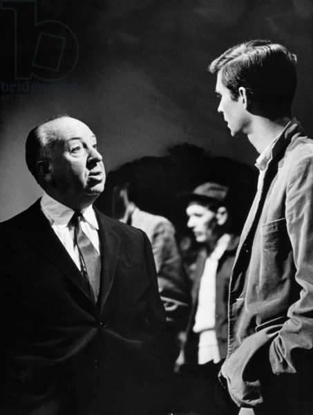 On The Set, Alfred Hitchcock And Anthony Perkins.