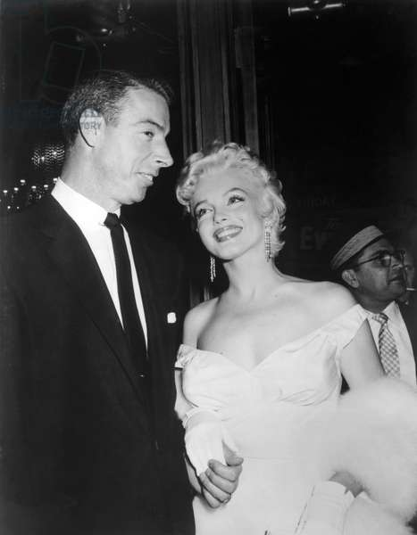 American baseball player Joe DiMaggio and his ex-wife Marilyn Monroe (1926 - 1962) at the premiere of the film The Seven Year Itch, june 1st, 1955 (b/w photo)