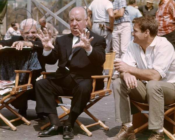 On The Set, Alfred Hitchcock And Rod Taylor., The Birds 1963 Directed By Alfred Hitchcock