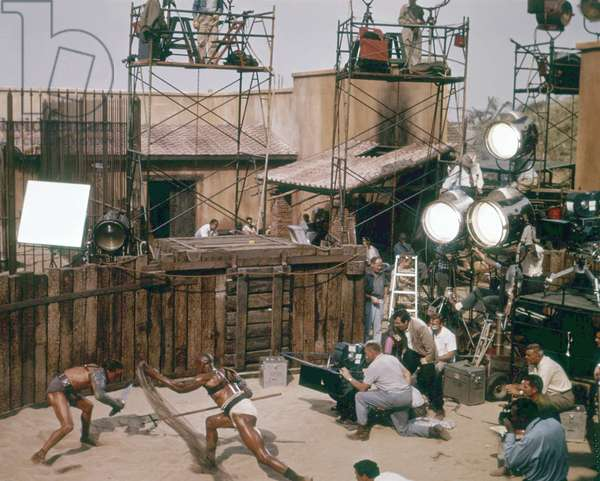 On The Set, Stanley Kubrick Directs The Scene Between Woody Strode And Kirk Douglas.