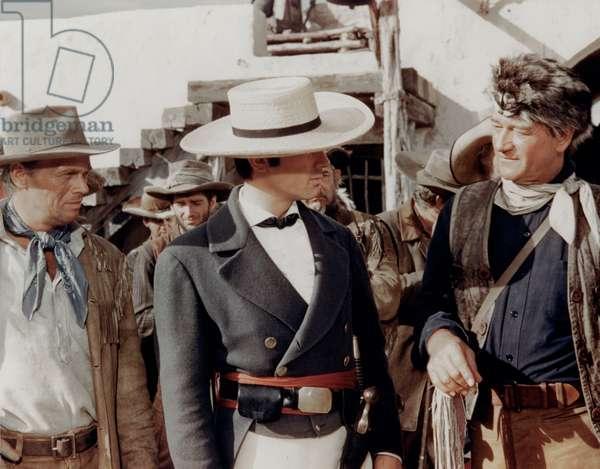 Richard Widmark, Laurence Harvey And John Wayne., The Alamo 1960 Directed By John Wayne