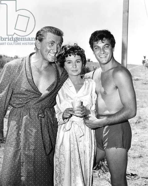 On The Set, Kirk Douglas, Jean Simmons And Tony Curtis.
