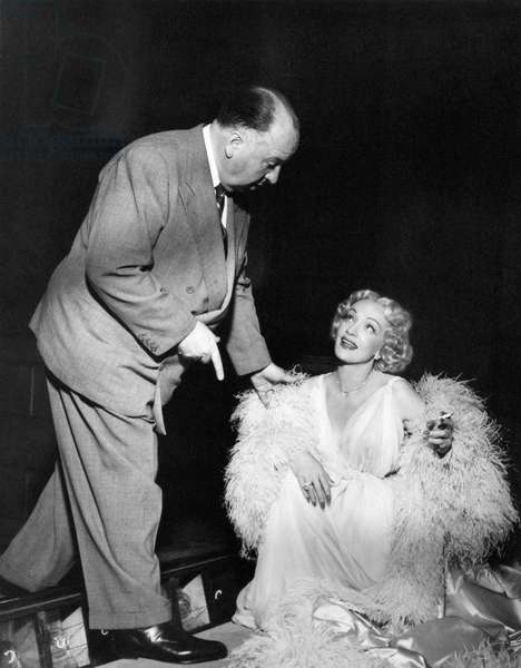 On The Set, Alfred Hitchcock And Marlene Dietrich.