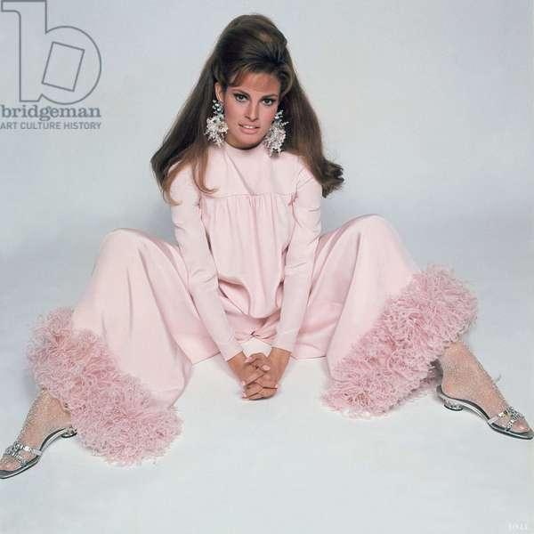Raquel Welch In Geoffrey Beene'S Ostrich Trimmed Pajamas, Raquel Welch In Geoffrey Beene'S Ostrich Trimmed Pajamas, Vogue March 1967