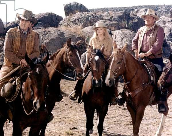 Ben Johnson, Ann-Margret And John Wayne, The Train Robbers 1973 Directed By Burt Kennedy