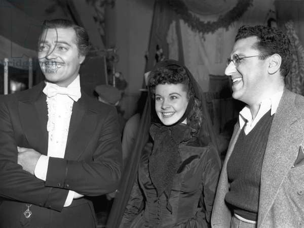 On The Set, Clark Gable, Vivien Leigh And George Cukor.