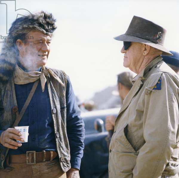 On The Set, John Wayne Speaks With John Ford., The Alamo 1960 Directed By John Wayne