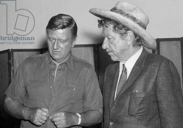 On The Set, John Wayne With Richard Boone., Big Jake 1971 Directed By George Sherman And John Wayne (Uncredi