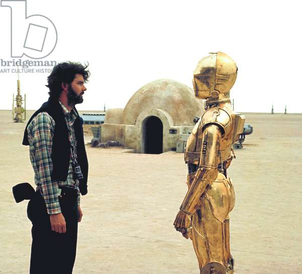 On The Set, George Lucas And Anthony Daniels Who Plays C-3Po.