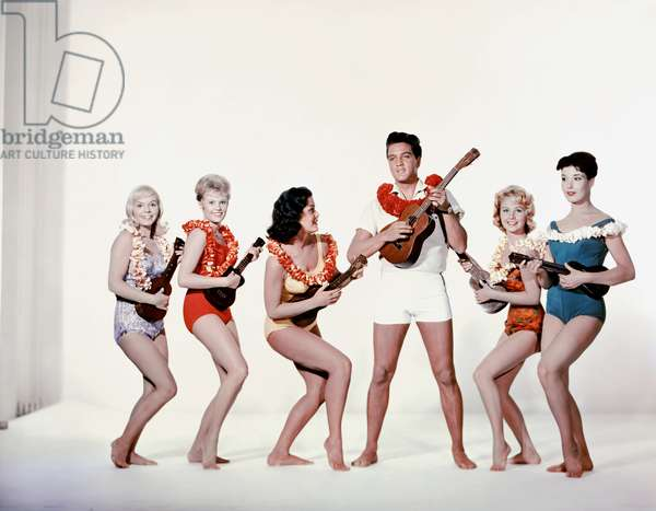 Jenny Maxwell, Pamela Austin, Joan Blackman, Elvis Presley And Darlene Tompkins., Blue Hawaii 1961 Directed By Norman Taurog