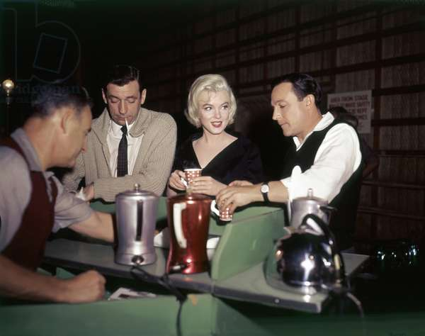 On The Set, Yves Montand, Marilyn Monroe And Gene Kelly.