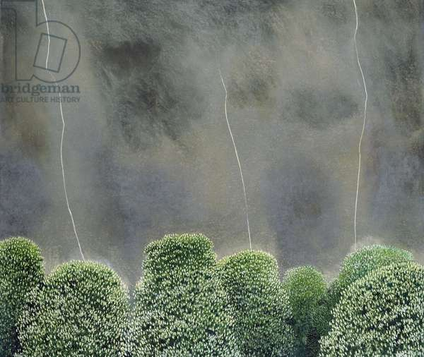 Lightning and Chestnut Trees (pastel on paper)