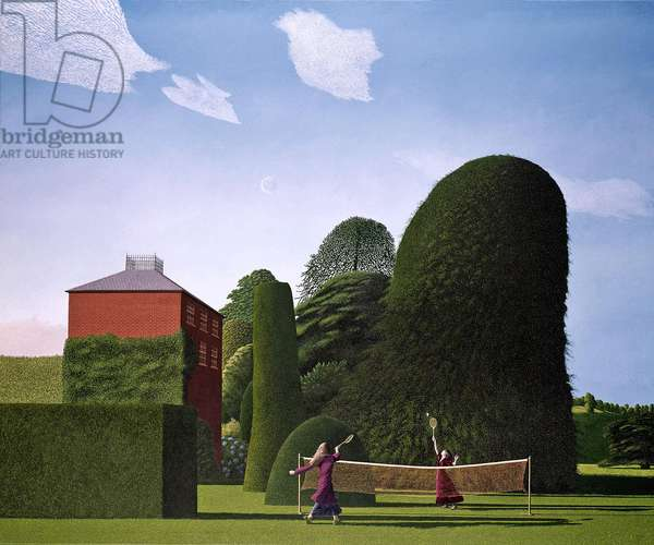 The Badminton Game, 1972-73 (oil on canvas)